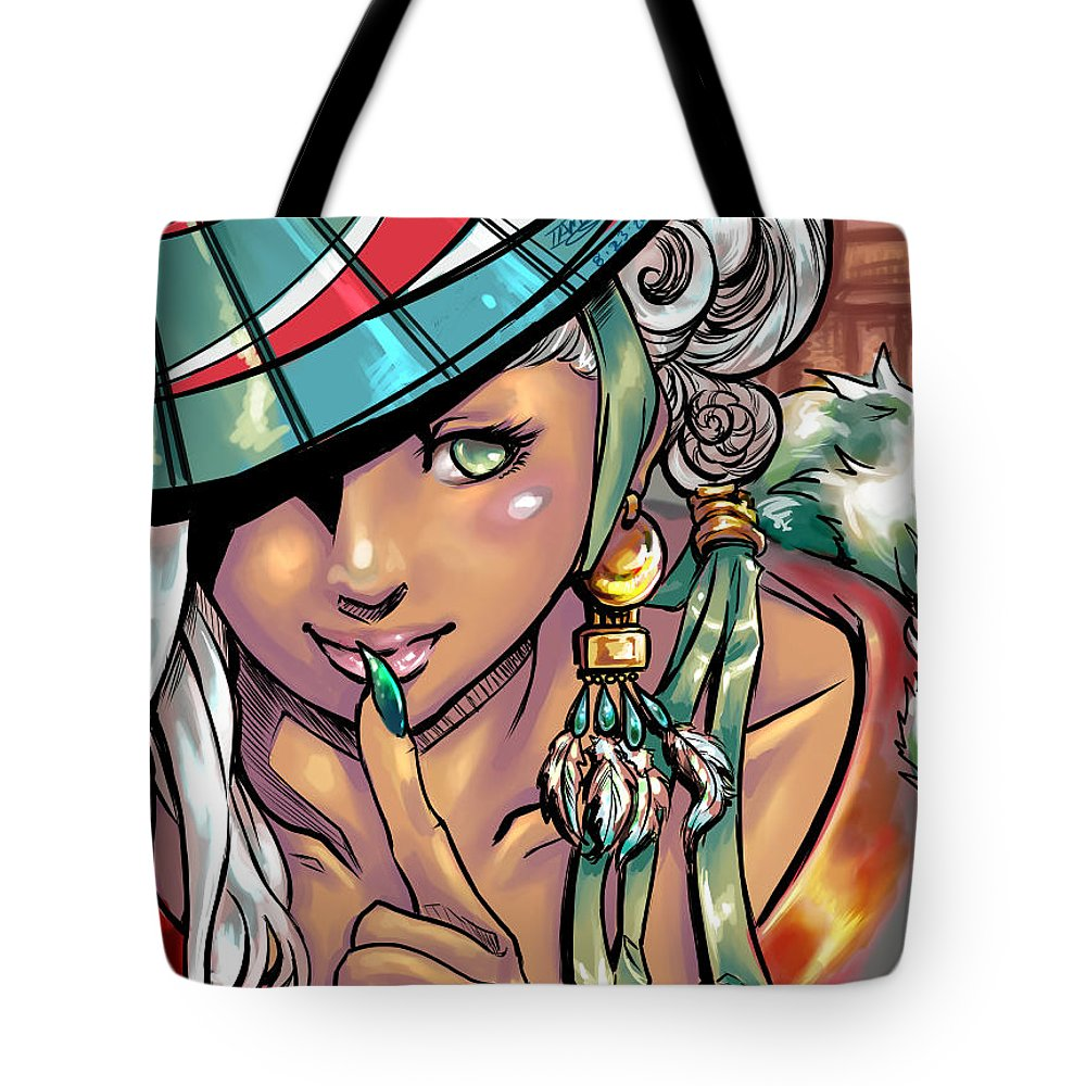 Portrait Tote Bag featuring the digital art Coy by Jemima Omalay