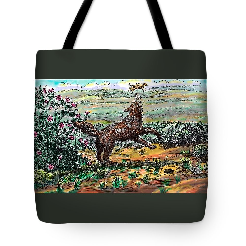 Animal Tote Bag featuring the drawing Coyote Joy by Dawn Senior-Trask