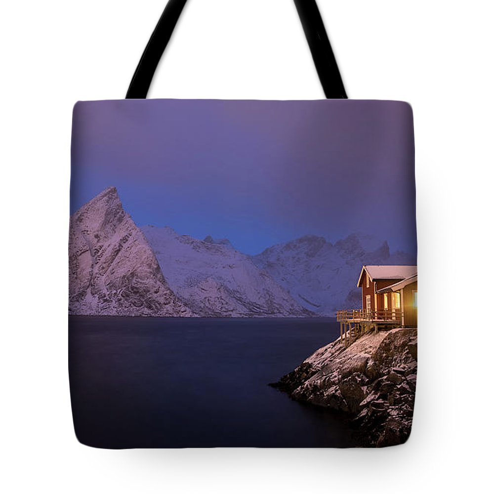 Norway Tote Bag featuring the photograph Cozy Cabin By The Fjord by Adrian Salcu