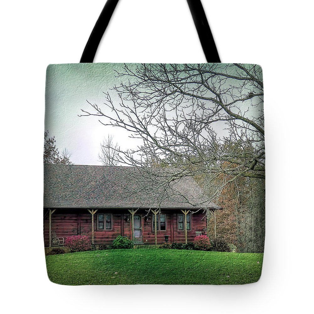 Log House Tote Bag featuring the photograph Cozy Comfy And Cute by Leslie Montgomery