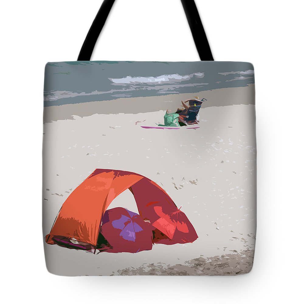 Florida Tote Bag featuring the painting Cozy Hide-a-way For Two On A Florida Beach by Allan Hughes