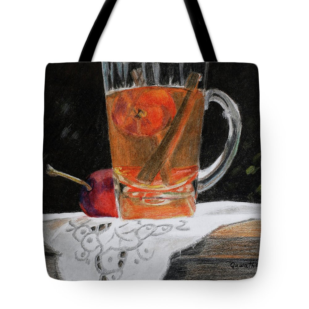 Glass Tote Bag featuring the painting Crab Apple And Cinnamon Tea by Quwatha Valentine
