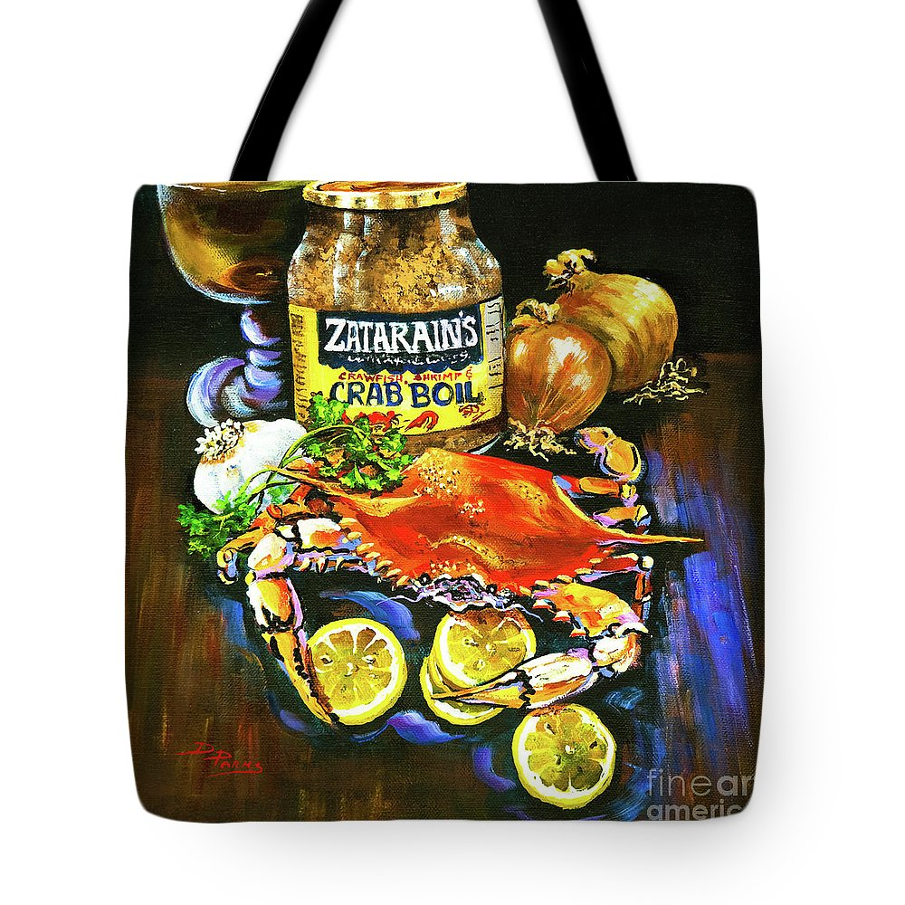 New Orleans Tote Bag featuring the painting Crab Fixin's by Dianne Parks