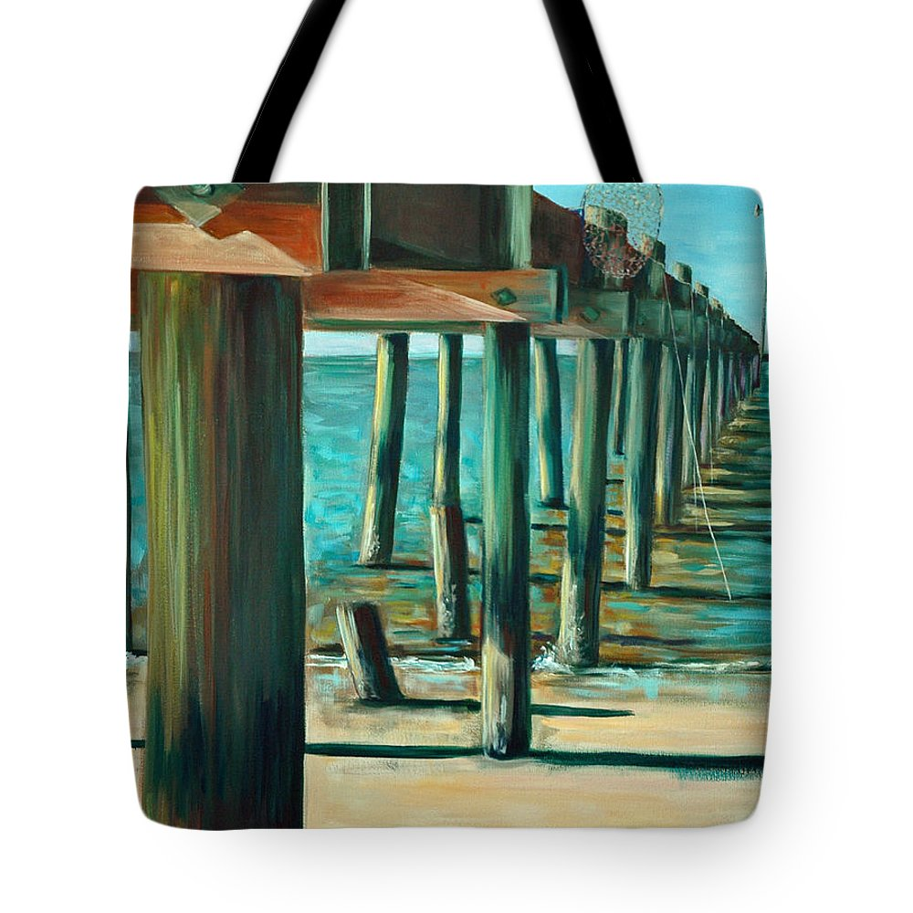 Acrylic Tote Bag featuring the painting Crabbing At Low Tide by Suzanne McKee
