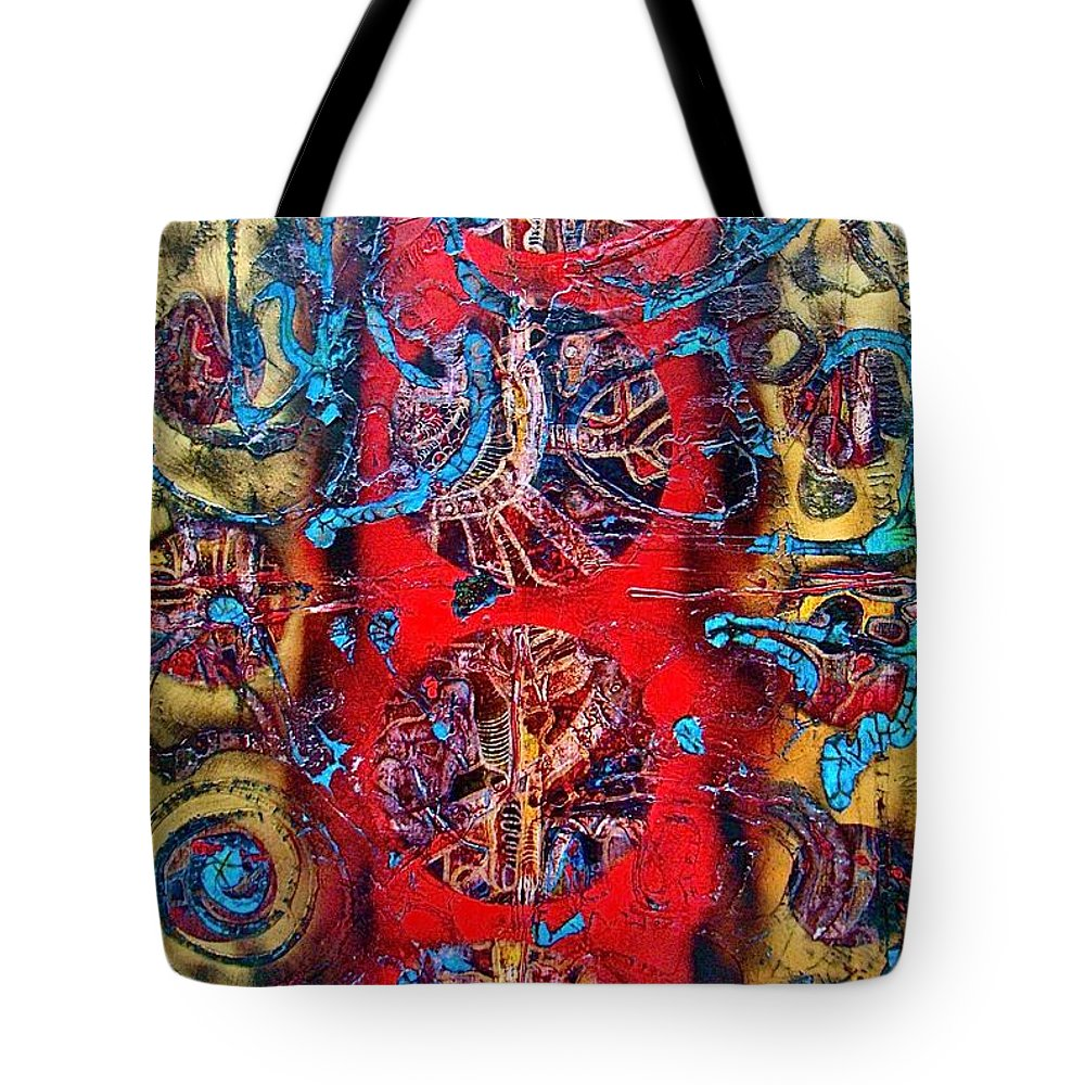 Abstract Art Tote Bag featuring the mixed media Cracking The Code Of The Universe by Alice Schwager