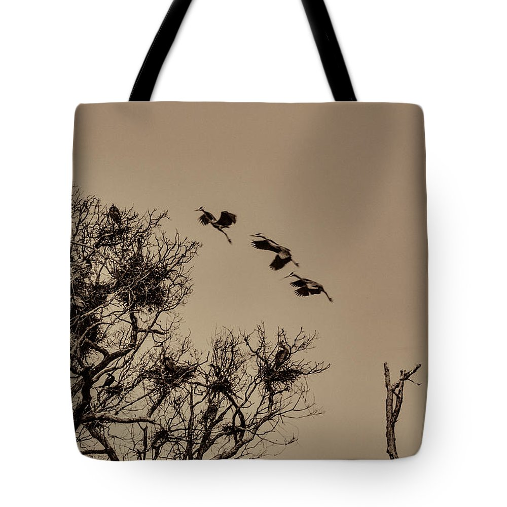 Cranes Tote Bag featuring the photograph Cranes Nesting by Melvin Busch