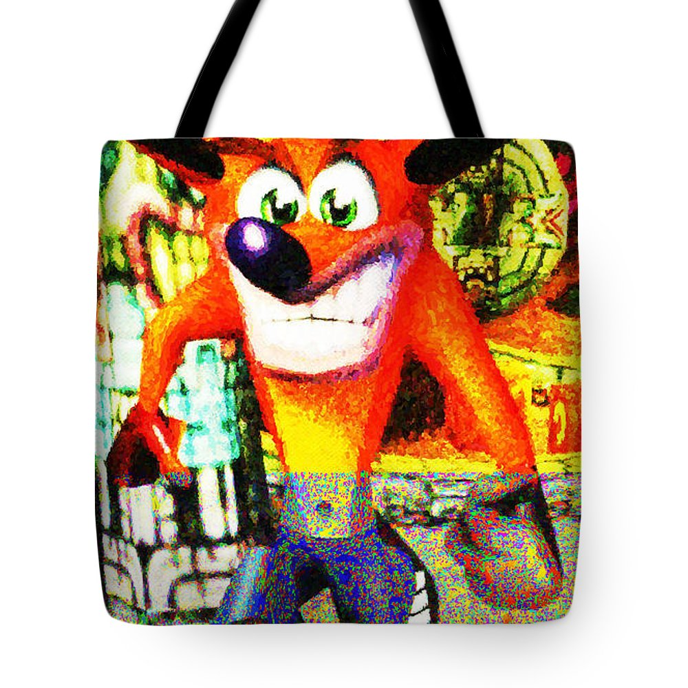 Crash Bandicoot Tote Bag featuring the digital art Crash Bandicoot by Lora Battle