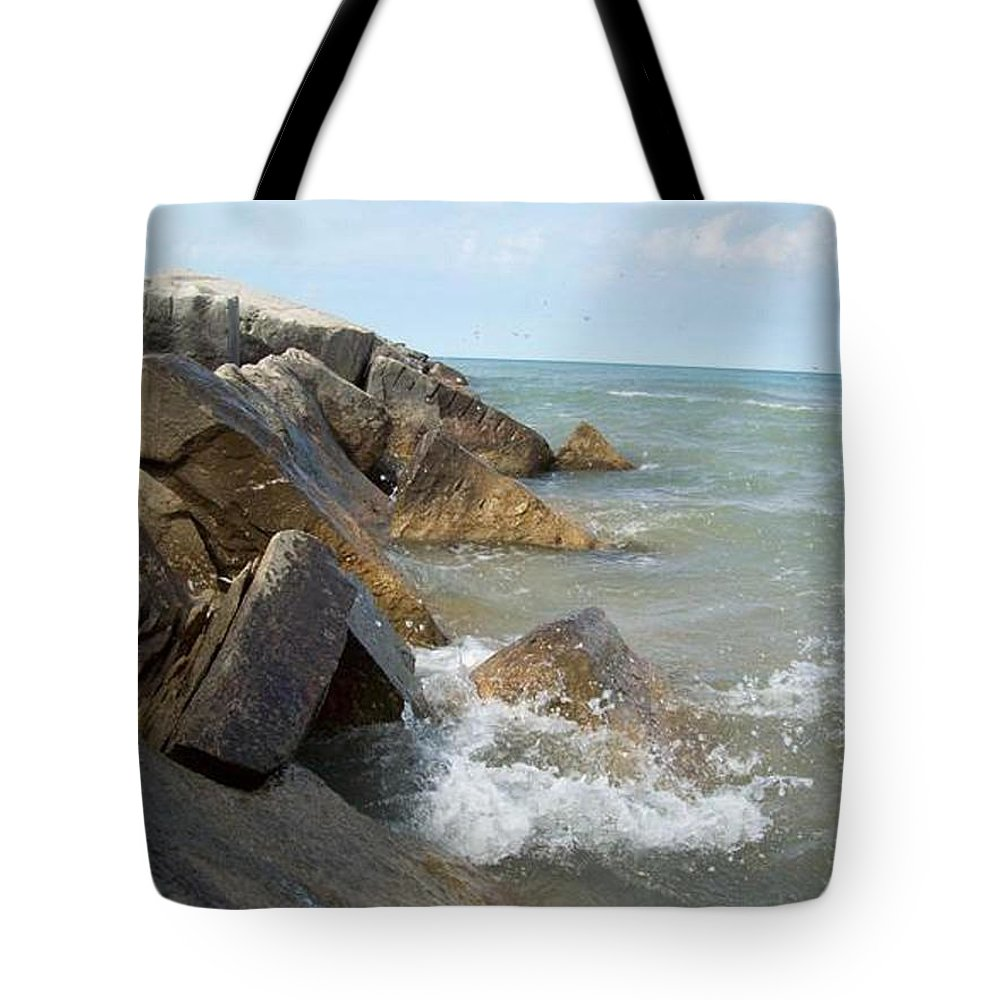 Tmad Tote Bag featuring the photograph Crashing Beauty by Michael TMAD Finney