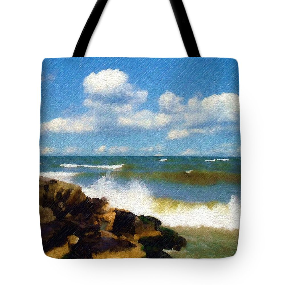 Seascape Tote Bag featuring the photograph Crashing Into Shore by Sandy MacGowan
