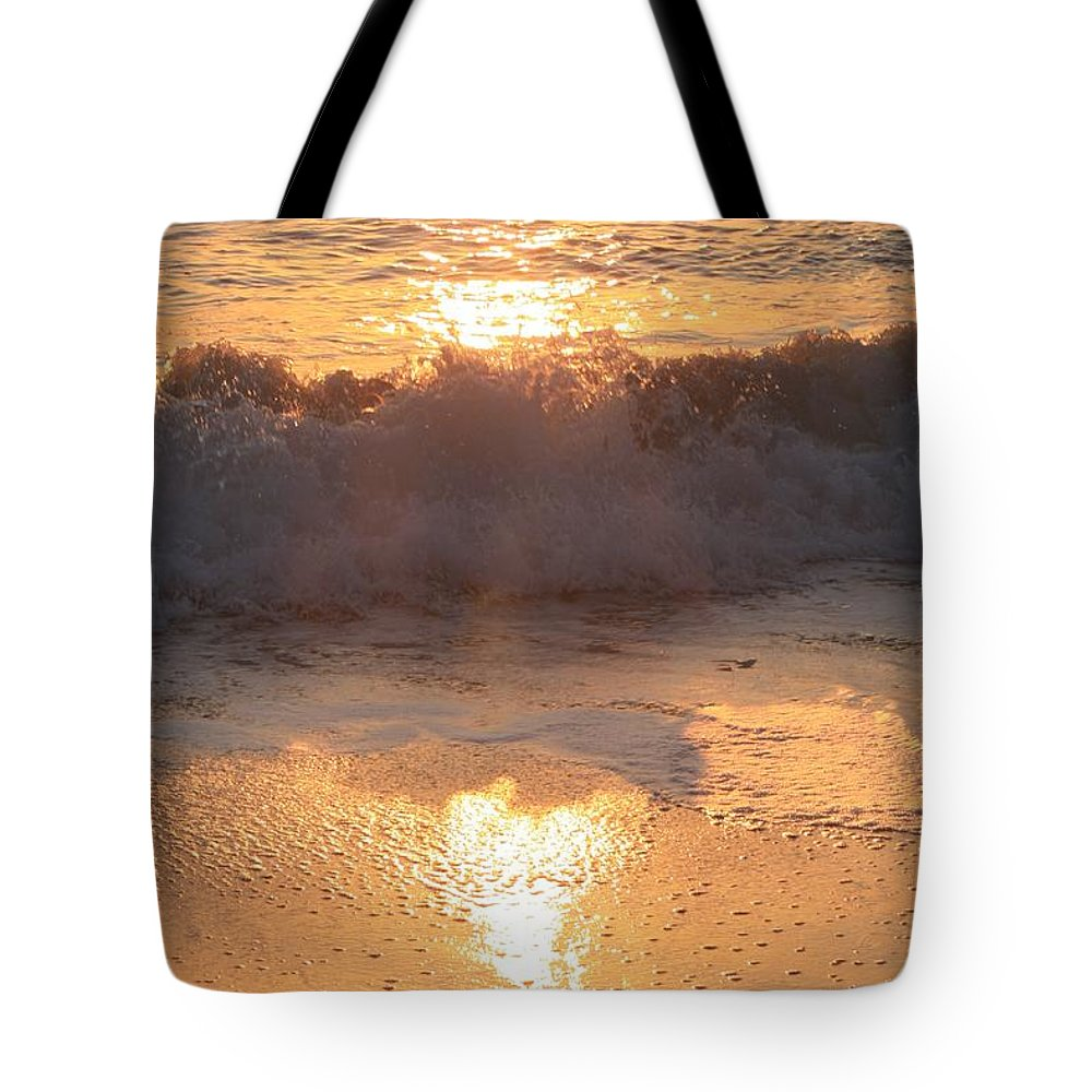 Waves Tote Bag featuring the photograph Crashing Wave At Sunrise by Nadine Rippelmeyer