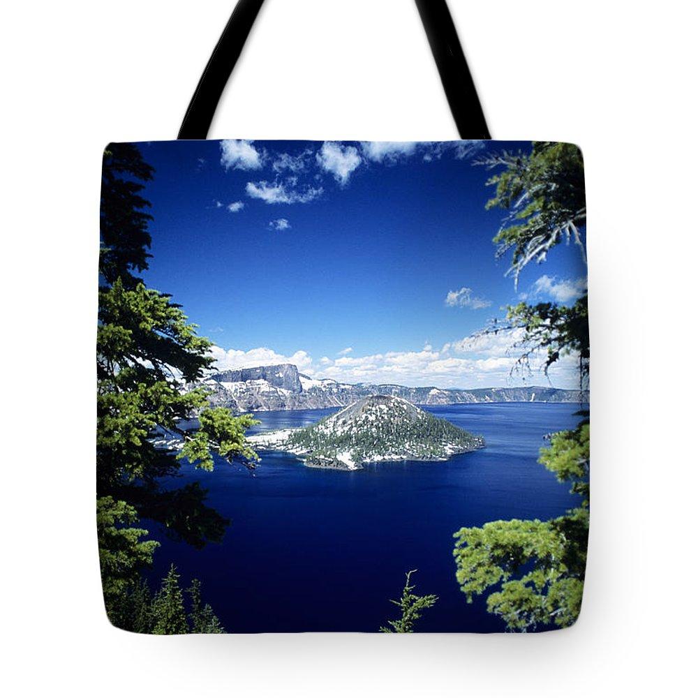 Allan Seiden Tote Bag featuring the photograph Crater Lake by Allan Seiden - Printscapes