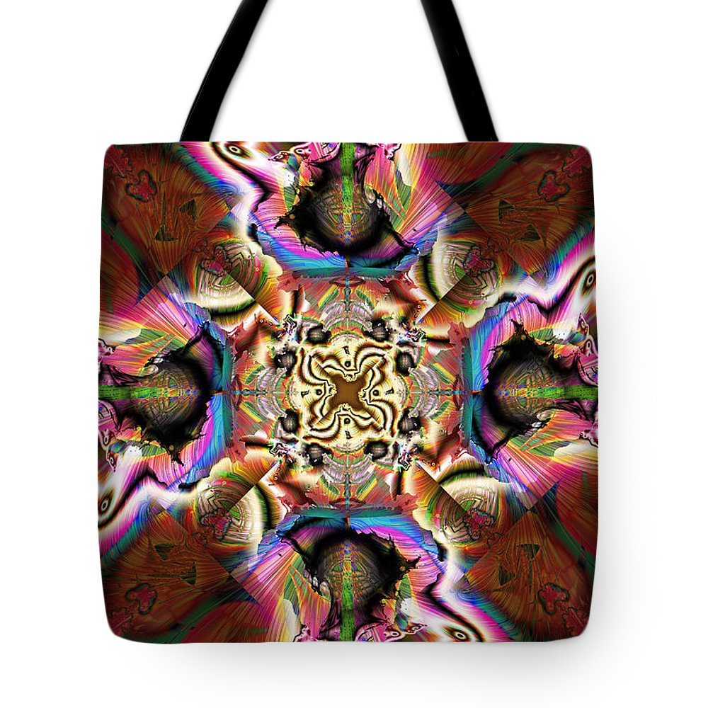 Abstract Tote Bag featuring the digital art Crater Lake by Jim Pavelle