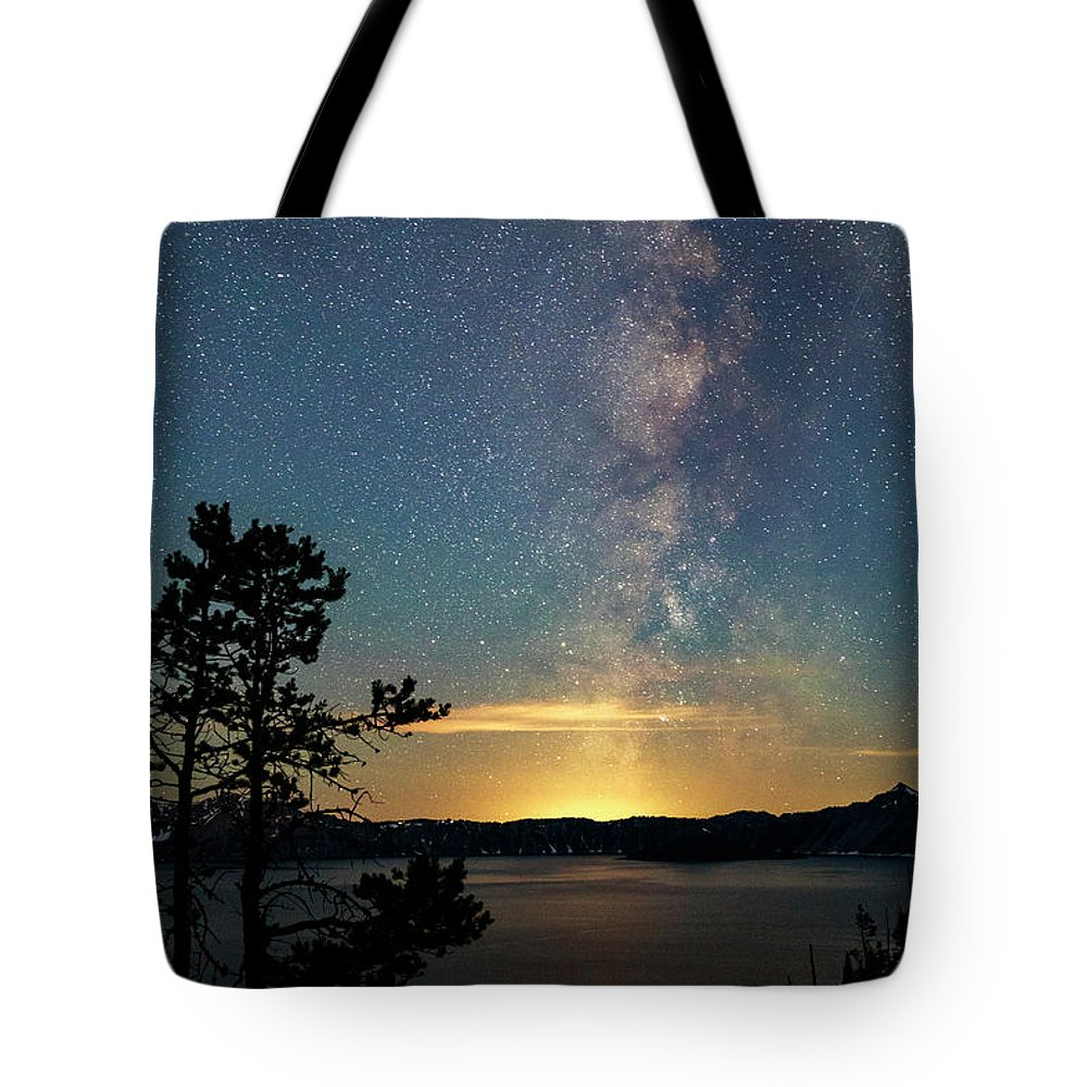 Night Tote Bag featuring the photograph Crater Lake Milky Way by Cat Connor