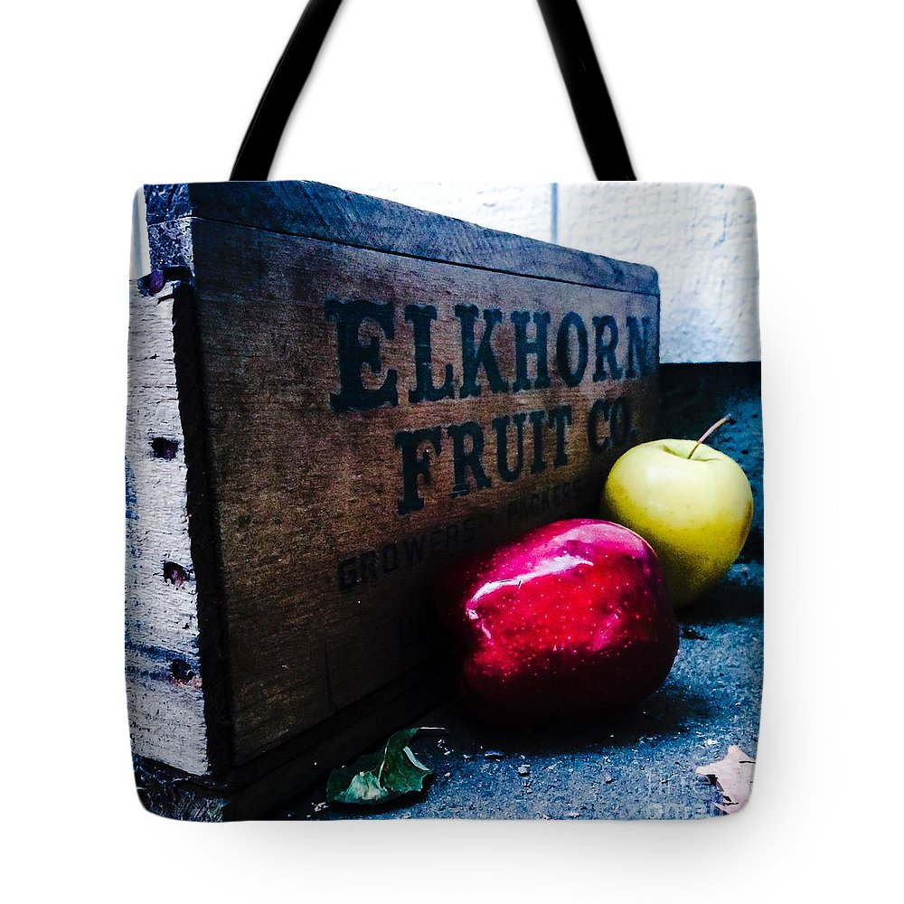 Apples Tote Bag featuring the photograph Crates Of Apples by Michael Gailey