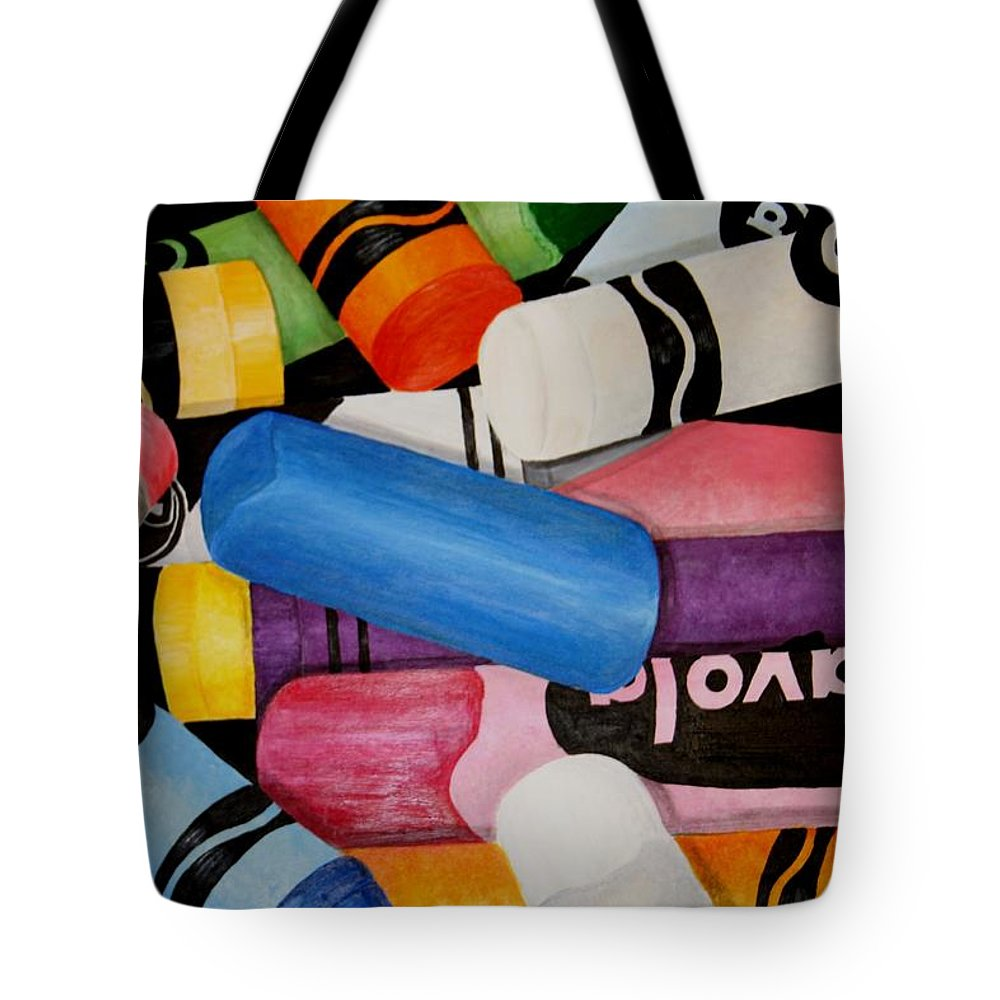 Crayons Tote Bag featuring the painting Crayons by Melissa Wiater Chaney