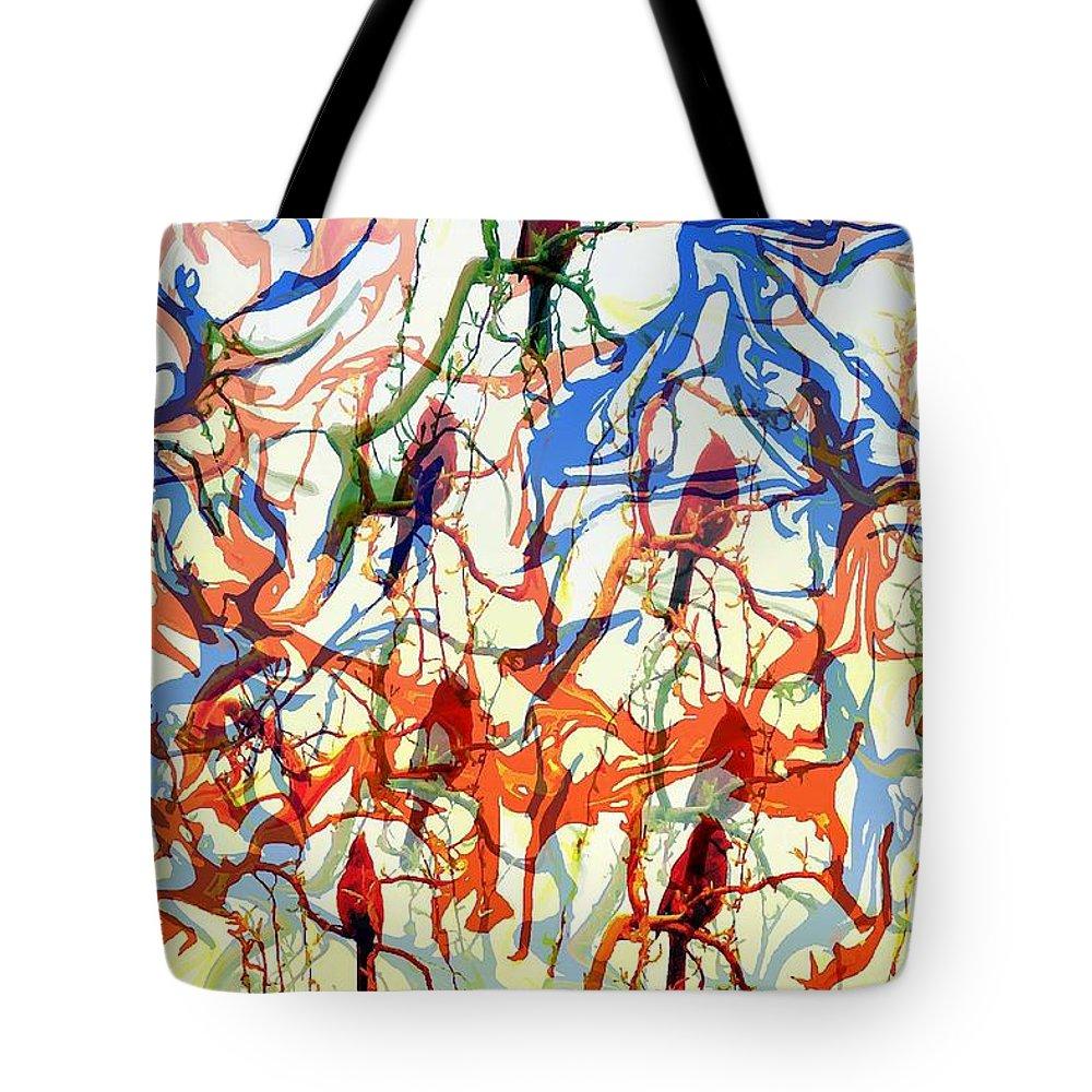 Birds Tote Bag featuring the digital art Crazy Cardinals by Shelley Jones