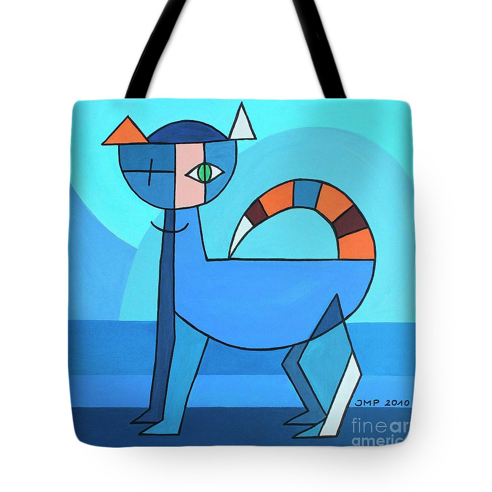 Paint Tote Bag featuring the painting Crazy Cat by Jutta Maria Pusl
