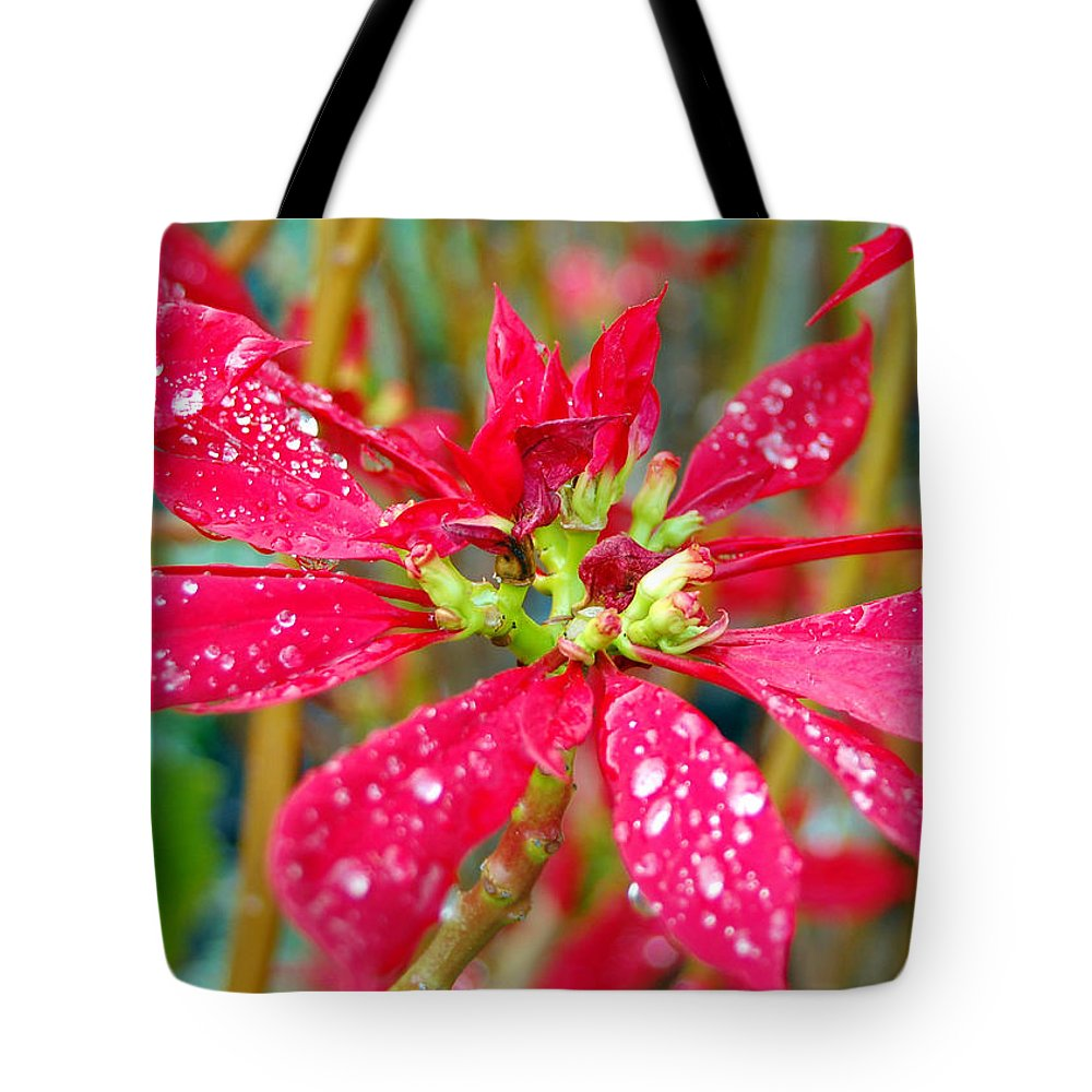 Flower Tote Bag featuring the photograph Crazy Dewy Red Flower by Amy Fose
