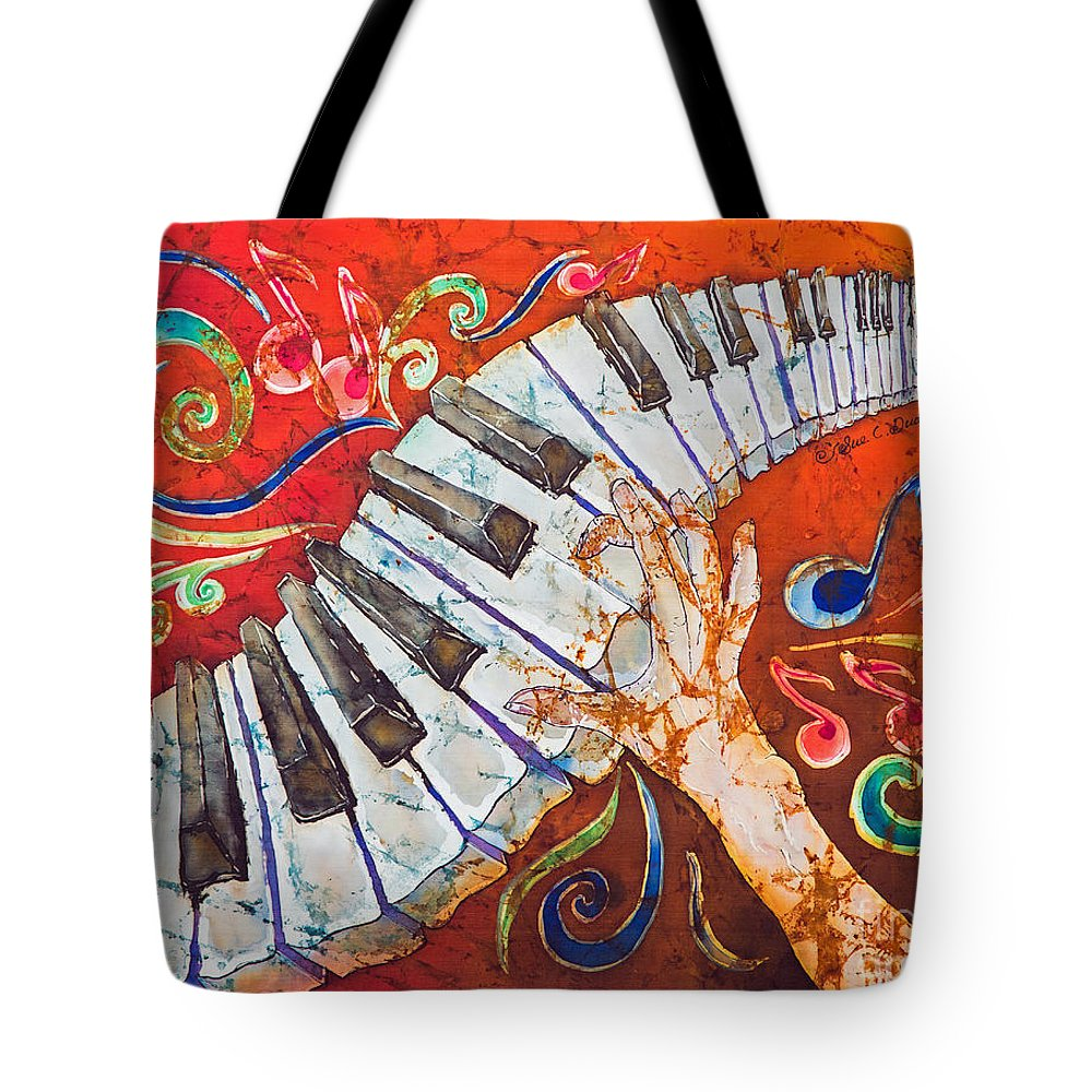 Piano Tote Bag featuring the tapestry - textile Crazy Fingers - Piano Keyboard by Sue Duda