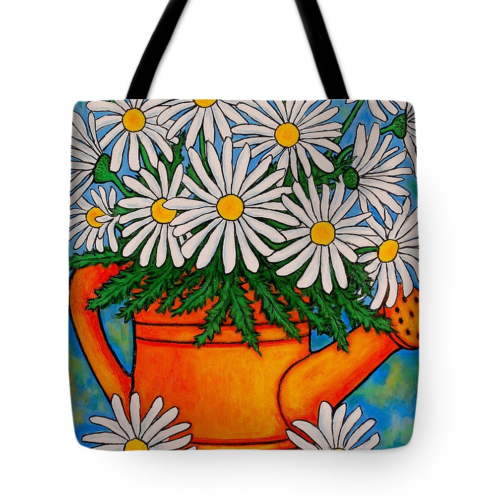 Daisies Tote Bag featuring the painting Crazy For Daisies by Lisa Lorenz