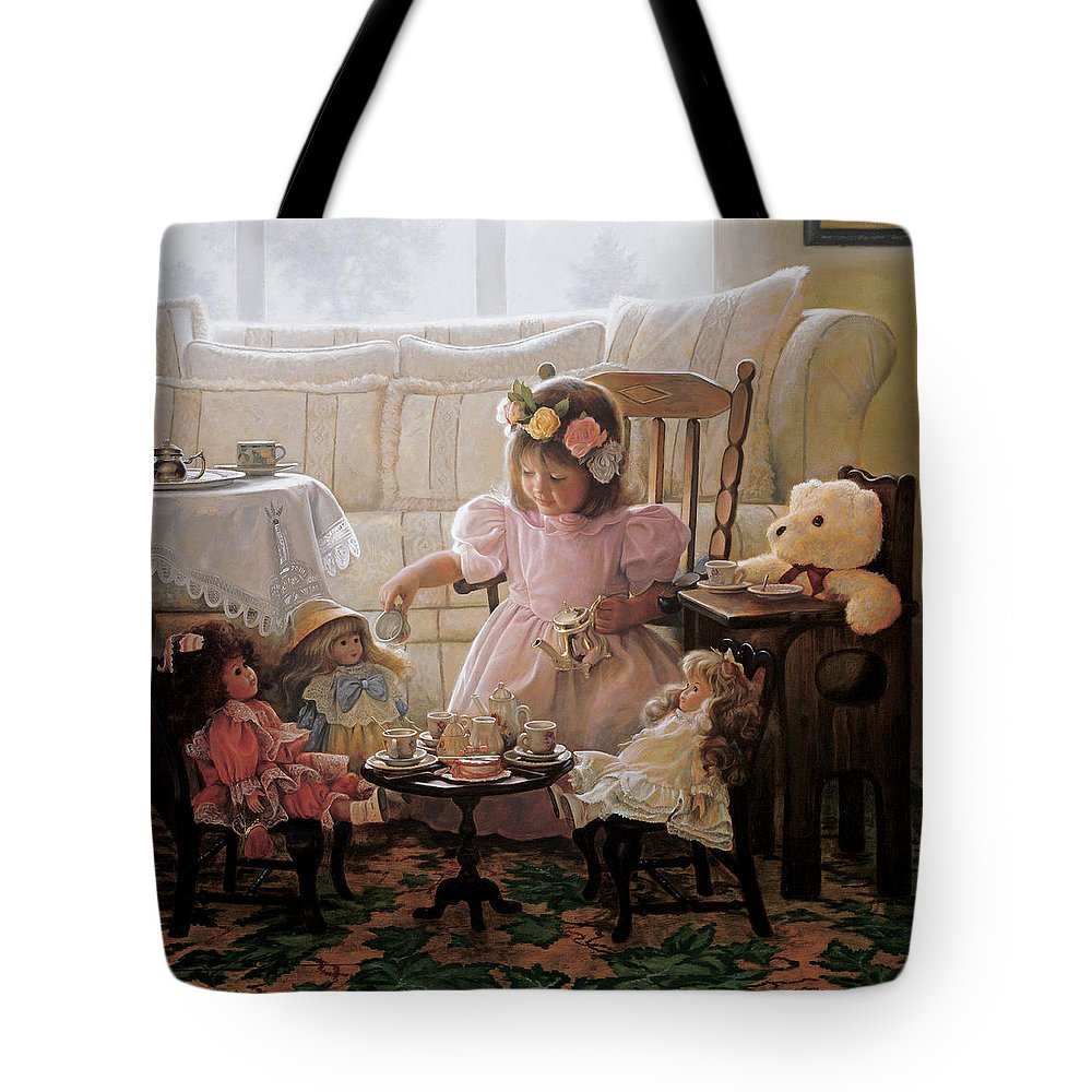 Girl Tote Bag featuring the painting Cream and Sugar by Greg Olsen