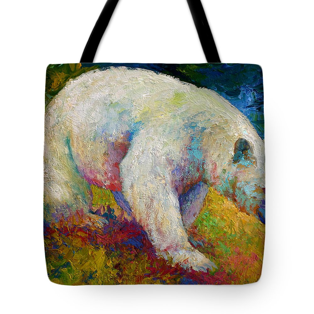 Western Tote Bag featuring the painting Creamy Vanilla - Kermode Spirit Bear Of Bc by Marion Rose