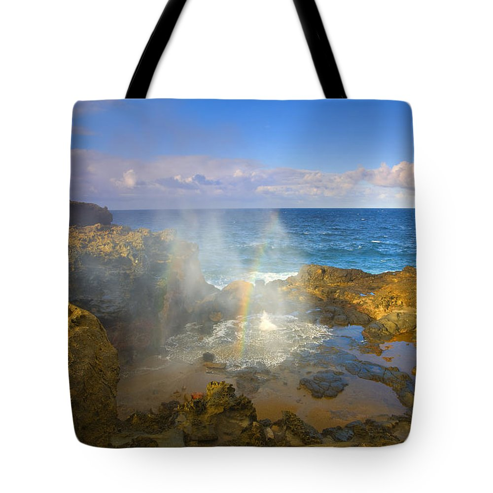 Blowhole Tote Bag featuring the photograph Creating Miracles by Mike Dawson