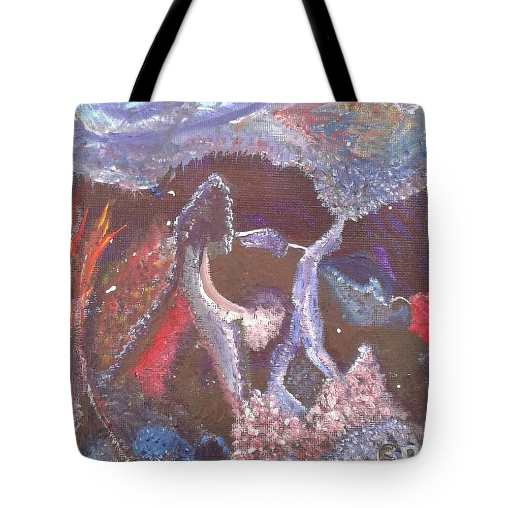 Absrtact Tote Bag featuring the painting Creation by Chris Damon