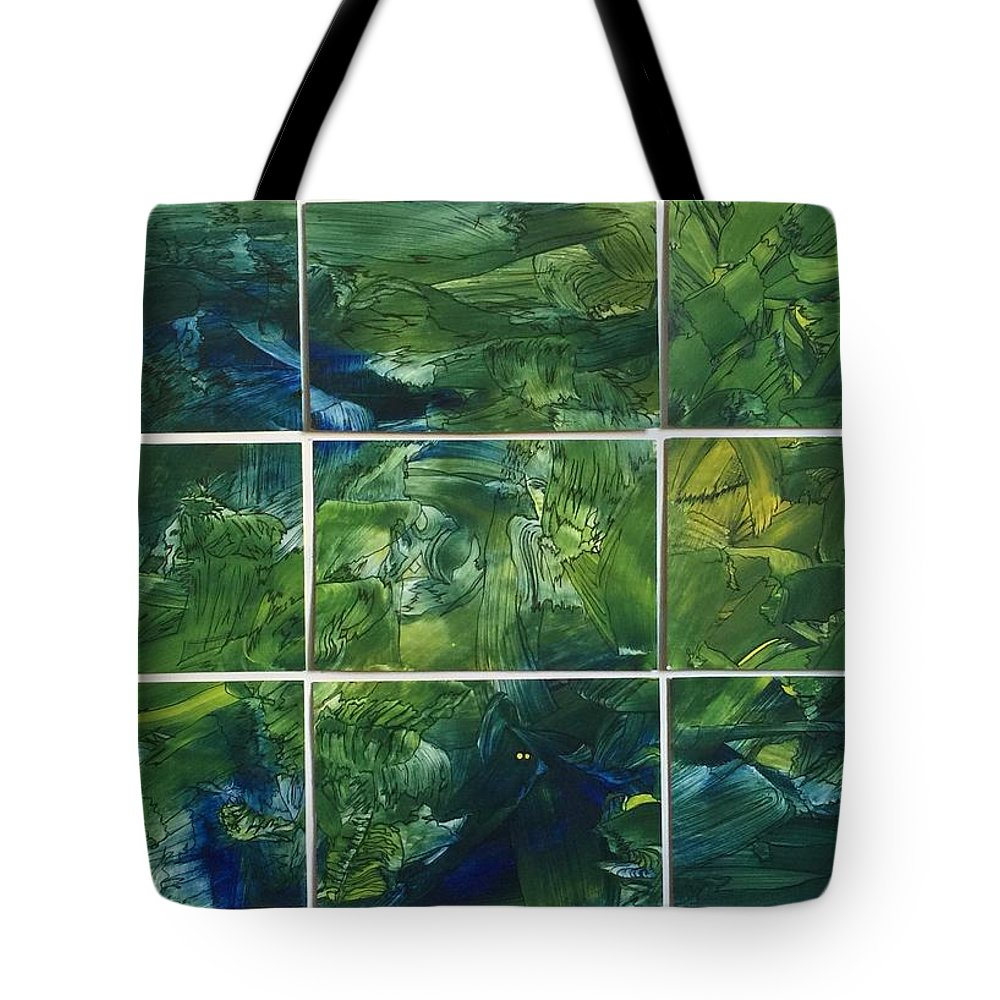 Intuitive Tote Bag featuring the mixed media Creation - Jungle by Corla McGillivray