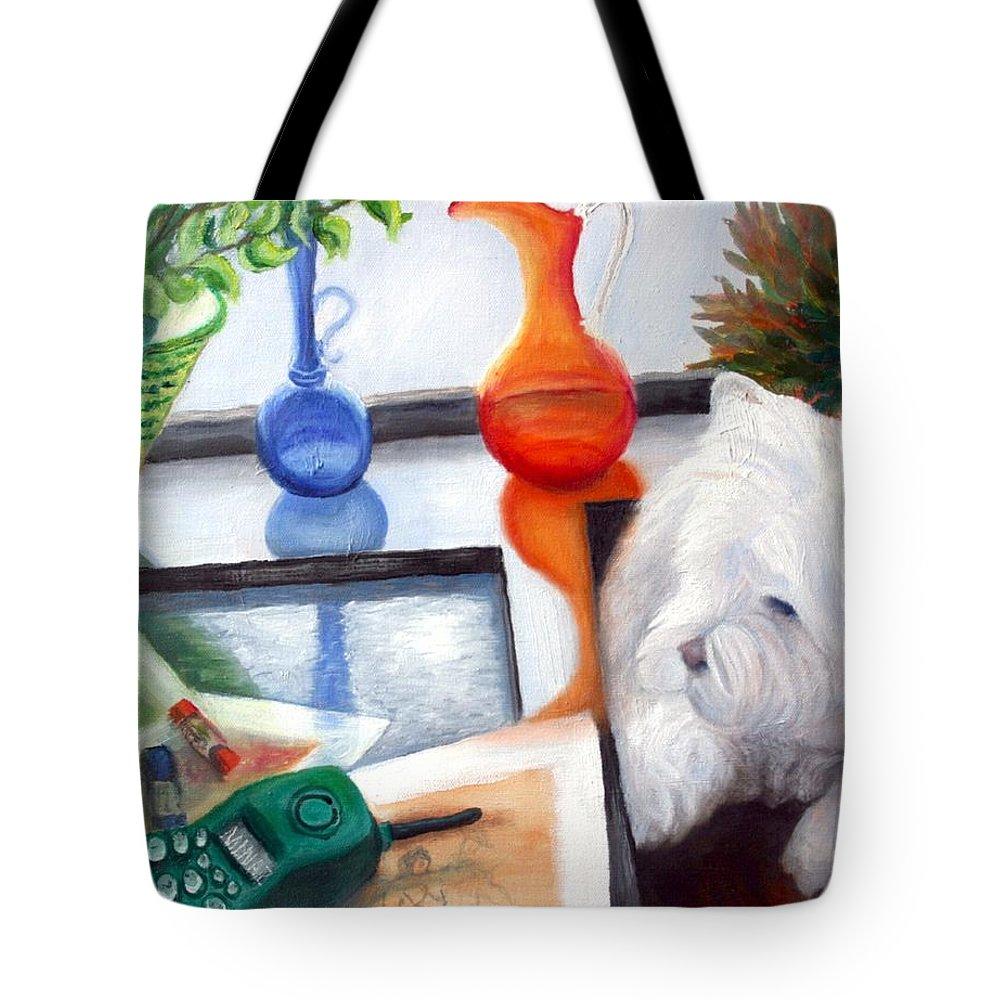 Dog Tote Bag featuring the painting Creative Reflections by Minaz Jantz