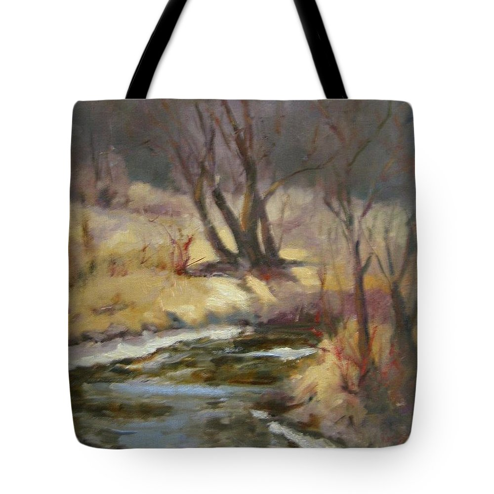 Plein Air Landscape Tote Bag featuring the painting Credit River by Patricia Kness