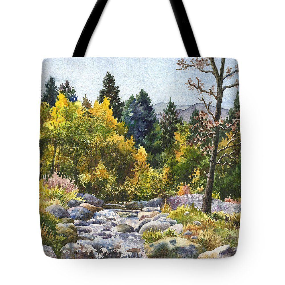 Rocky Mountain Painting Tote Bag featuring the painting Creek At Caribou by Anne Gifford