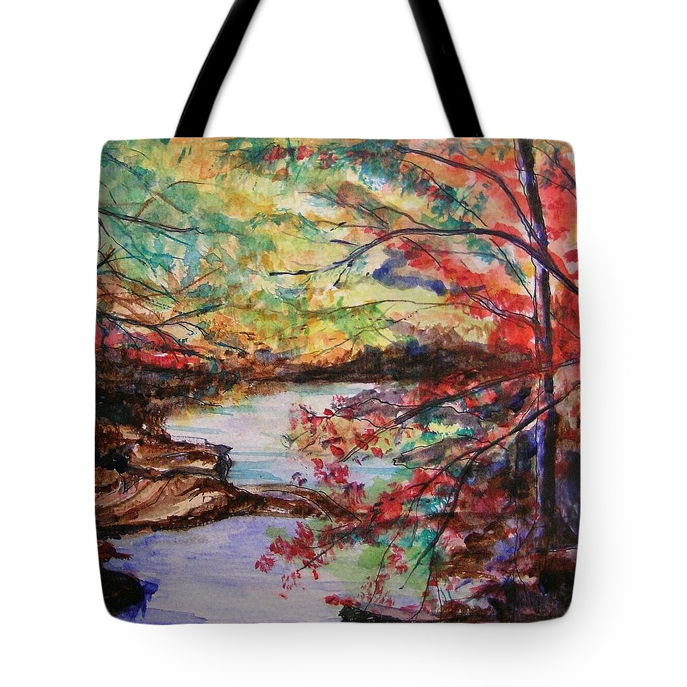Creek Tote Bag featuring the painting Creek Blue Ridge Mountains by Lizzy Forrester