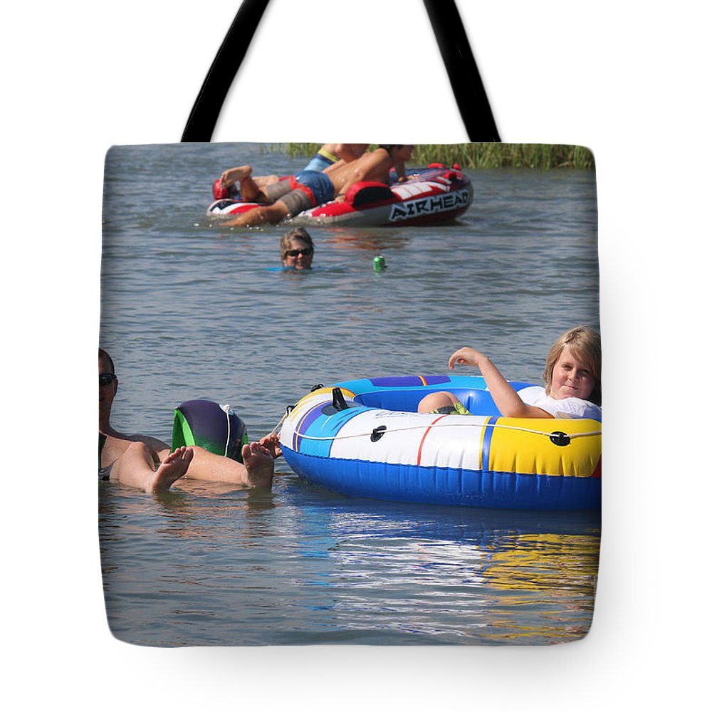 Dewees Island Tote Bag featuring the photograph Creek Float Tube by Reggie Fairchild