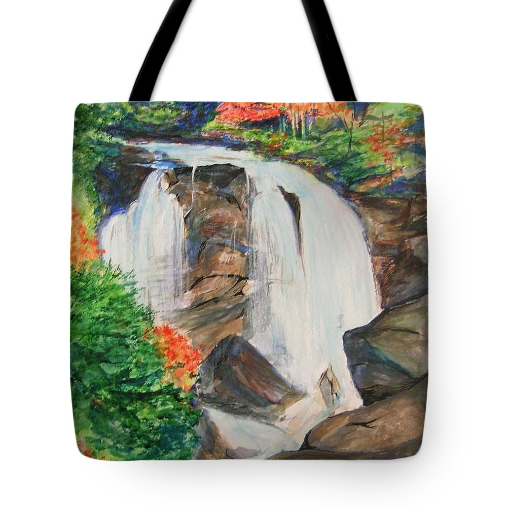 Creek Tote Bag featuring the painting Creek In Autumn by Lizzy Forrester