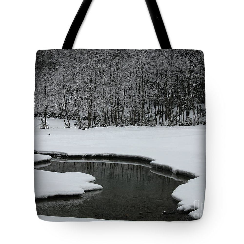 Creek Tote Bag featuring the photograph Creek In Snowy Landscape by Christiane Schulze Art And Photography