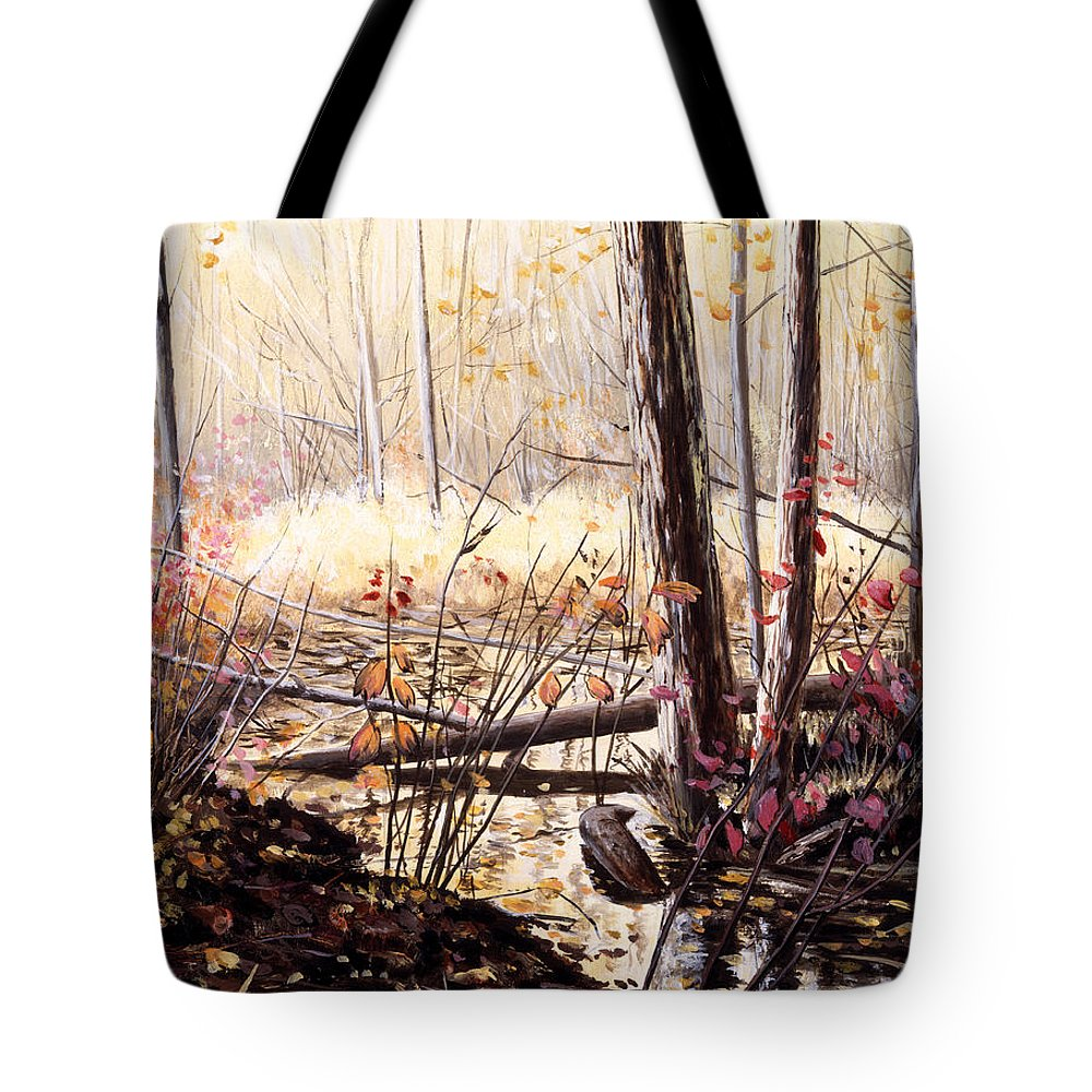 oil Painting Tote Bag featuring the painting Creek In The Woods by Roger Witmer