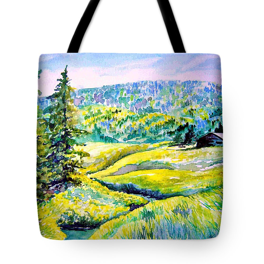 Arkansas Creek And Cottage Tote Bag featuring the painting Creek To The Cabin by Joanne Smoley