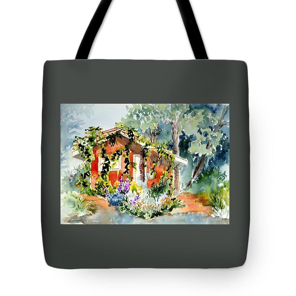 Retreat Tote Bag featuring the painting Creekside Retreat by Lynee Sapere