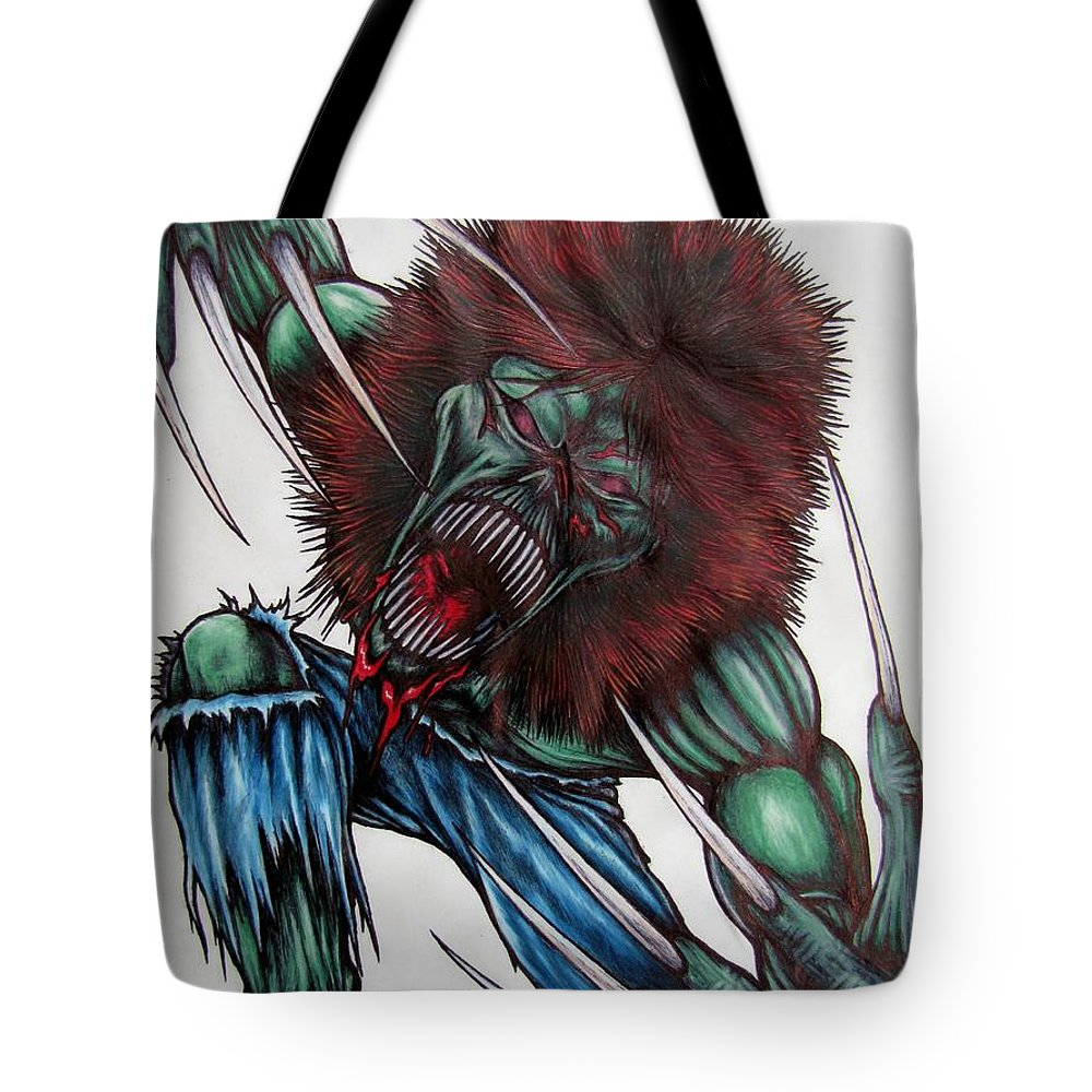 Michael Tmad Finney Tote Bag featuring the drawing Creeper by Michael TMAD Finney