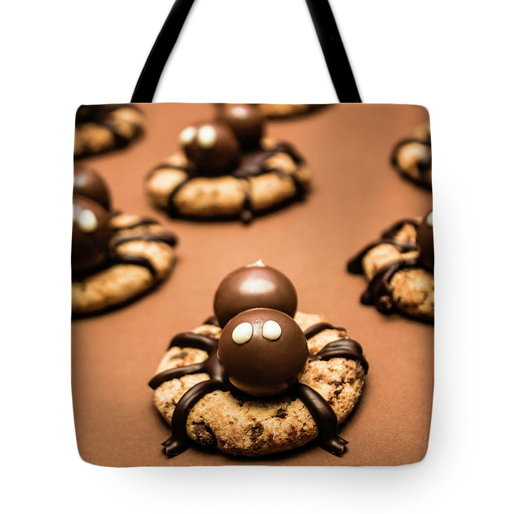 Food Tote Bag featuring the photograph Creepy Crawly Spider Bites. Halloween Food by Jorgo Photography - Wall Art Gallery