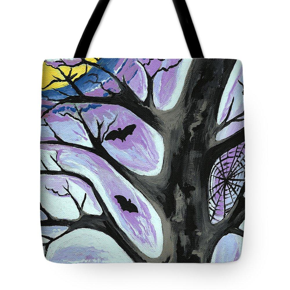 Tree Art Tote Bag featuring the painting Creepy Night by Kathleen Sartoris
