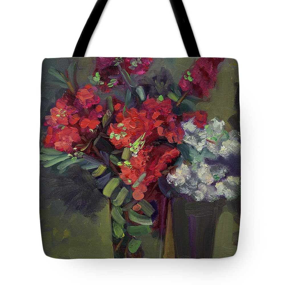 Floral Tote Bag featuring the painting Crepe Myrtles In Glass by Lilibeth Andre