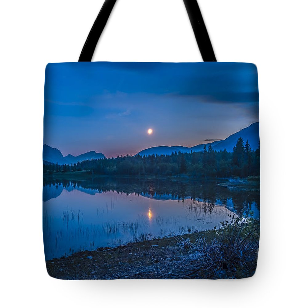 Bow Valley Provincial Park Tote Bag featuring the photograph Crescent Moon Over Middle Lake In Bow by Alan Dyer