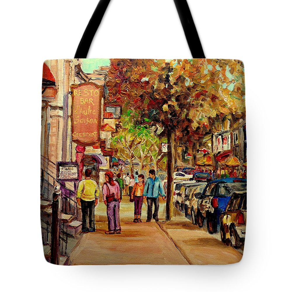 Montreal Streetscenes Tote Bag featuring the painting Crescent Street Montreal by Carole Spandau
