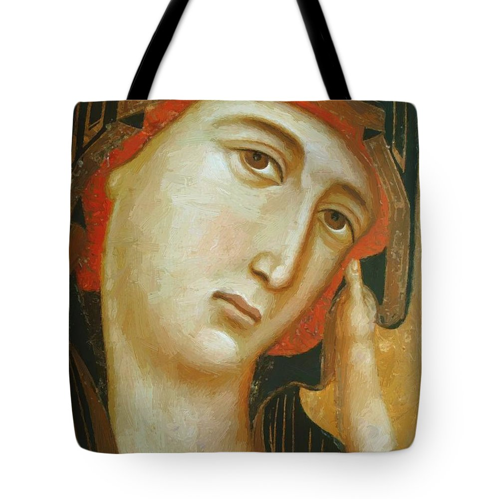 Crevole Tote Bag featuring the painting Crevole Madonna by Duccio