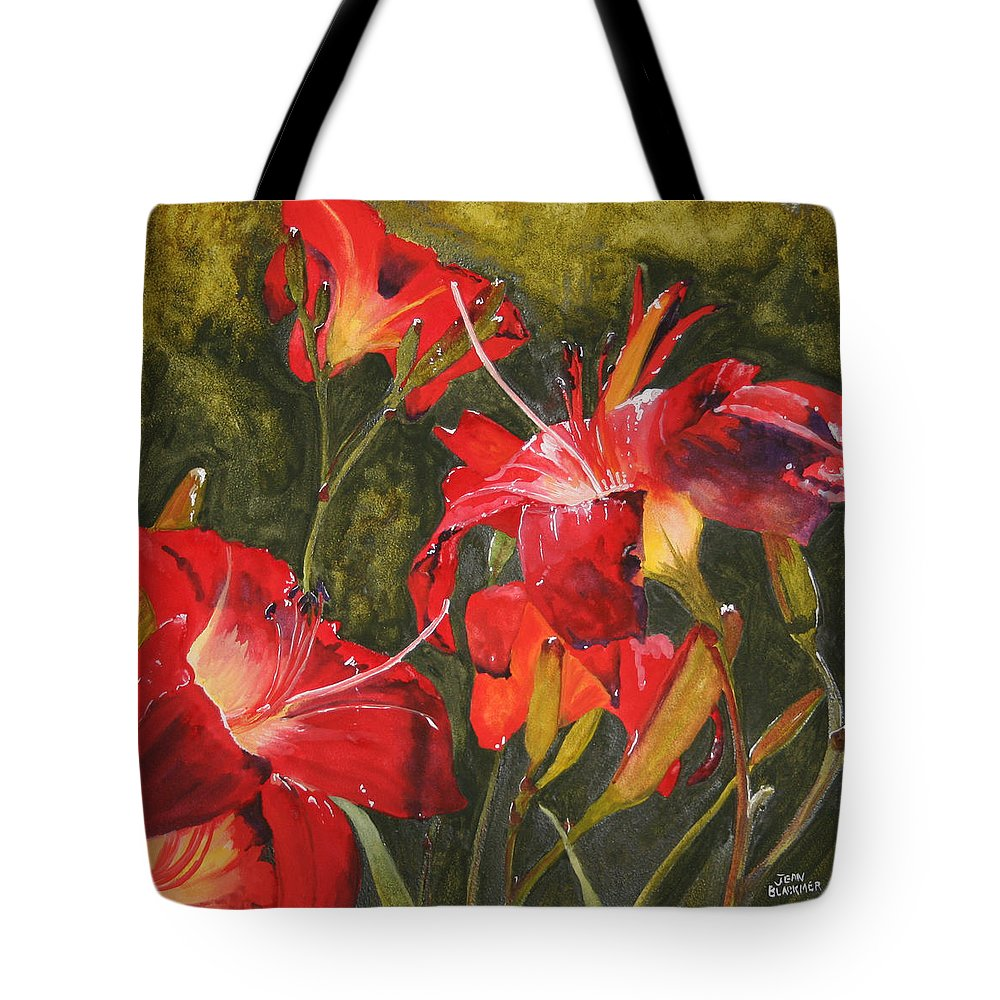 Red Tote Bag featuring the painting Crimson Light by Jean Blackmer