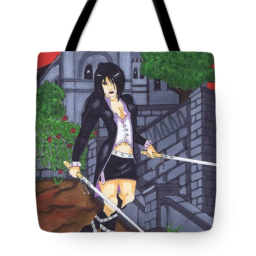 Vampire Tote Bag featuring the painting Crimson Sky by Mary Beth Macleod