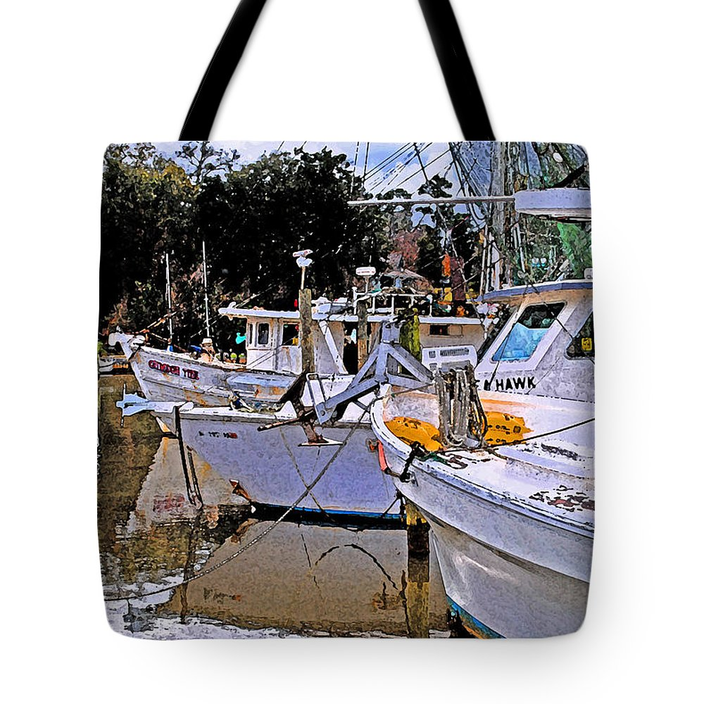 Shrimp Boat Tote Bag featuring the painting Crimson Tide by Michael Thomas