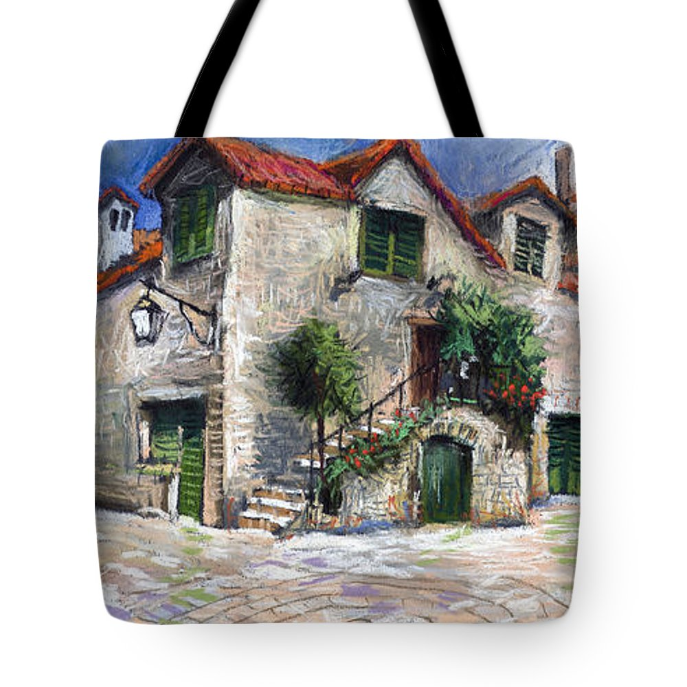 Pastel On Paper Tote Bag featuring the painting Croatia Dalmacia Square by Yuriy Shevchuk